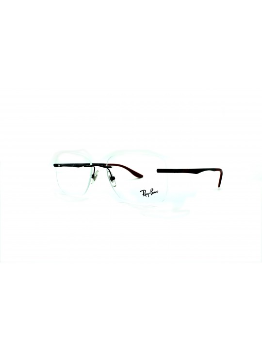 RayBan RB 6435 3047 Rectangle Black Rimless Frame Stainless Steel