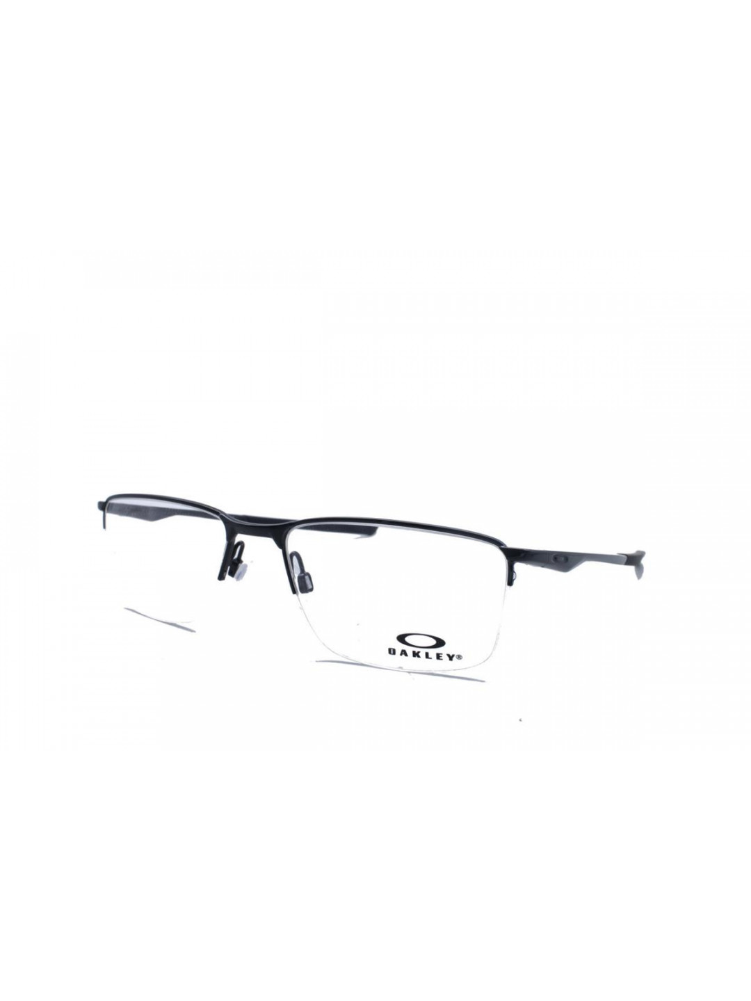 Oakley OA 3218 0156 Rectangle Black Half Frame With Stainless Steel