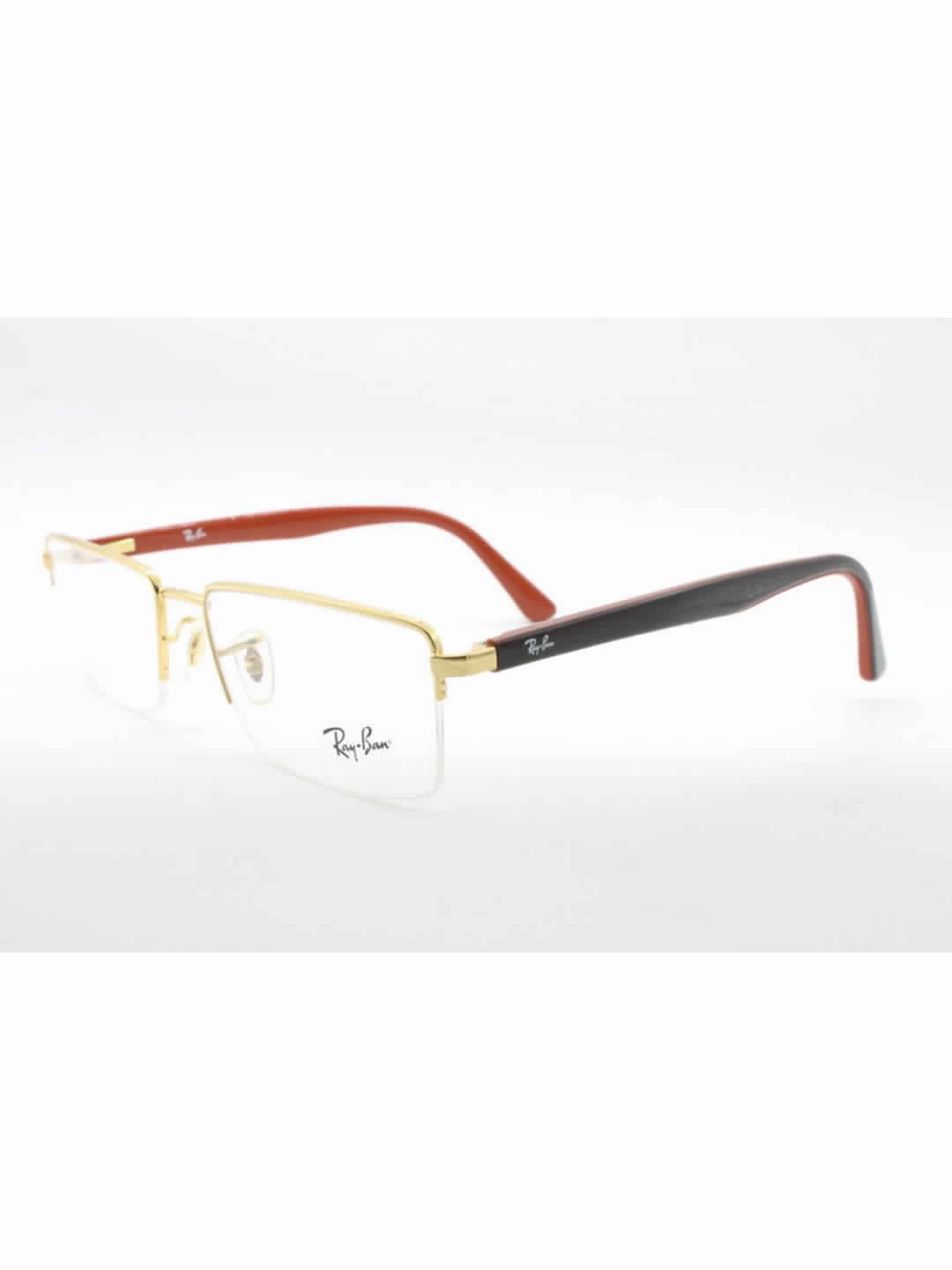 RayBan RB 6324 I 2500 Golden Rectangle Half Frame With Metal